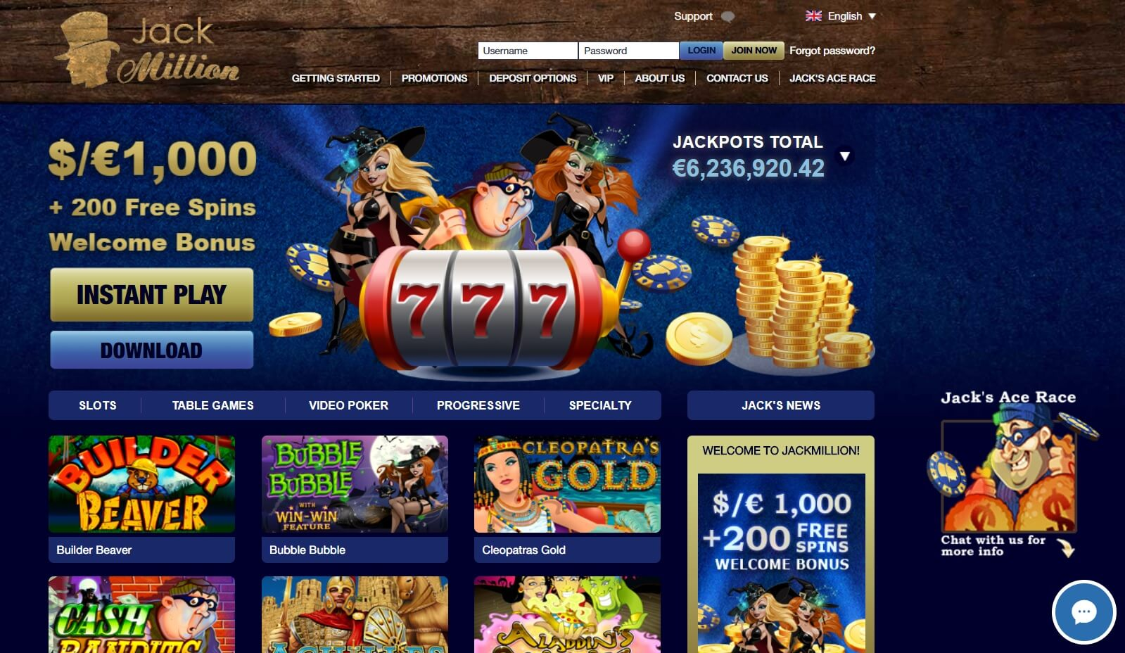 jackmillion casino pokies and casino games screen shot