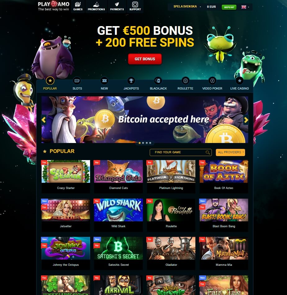 playamo casino games and online pokies