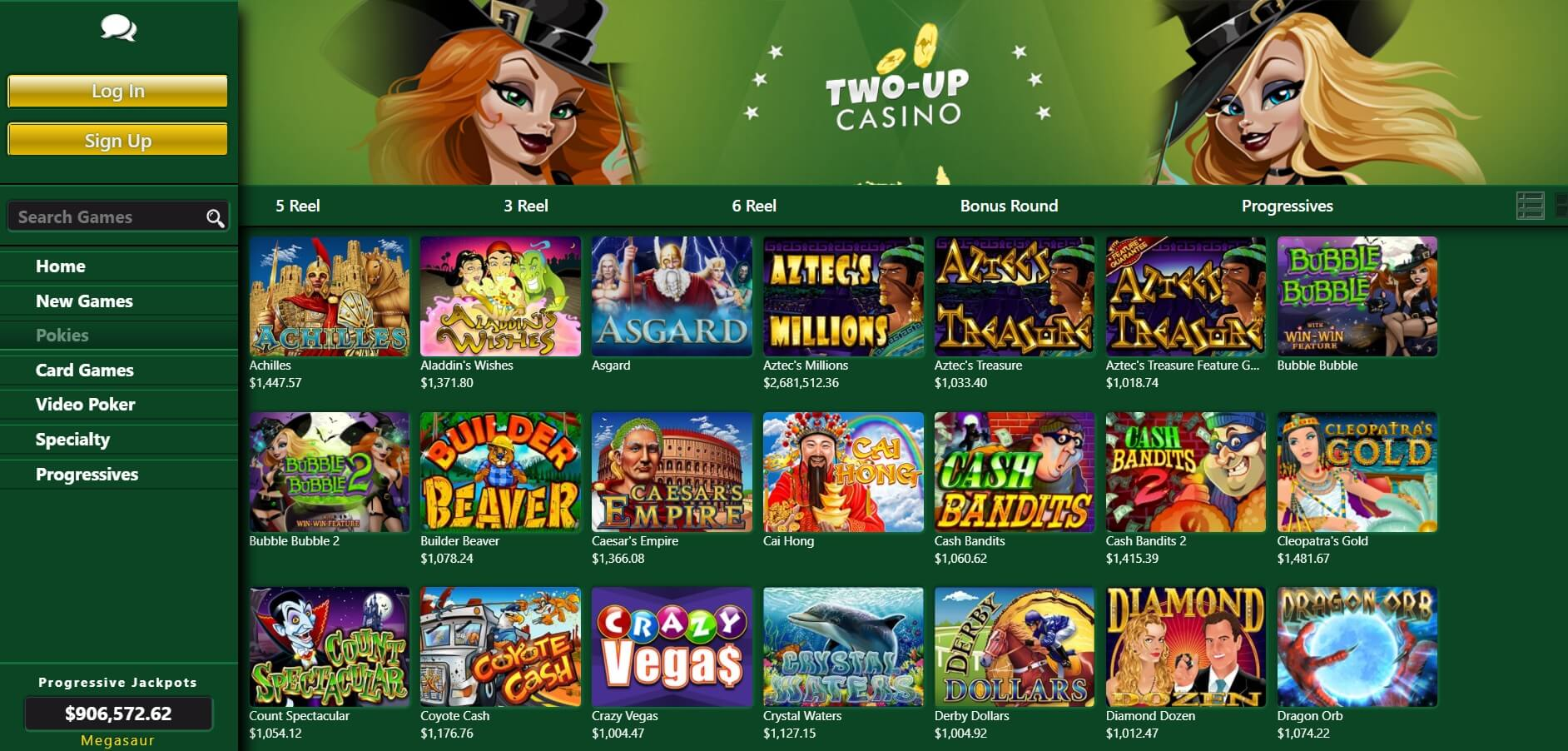 two up casino games and pokies